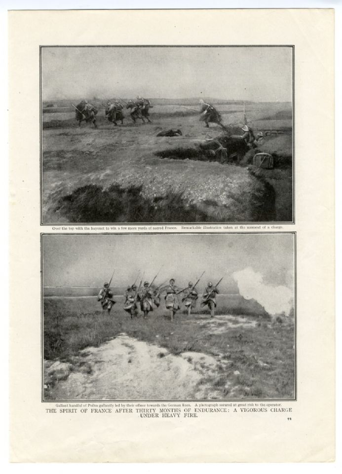 1916 WW1 Print SOMME Poilus French Infantrymen CHARGE Bayonets Fixed WING BOMBS Grenades
